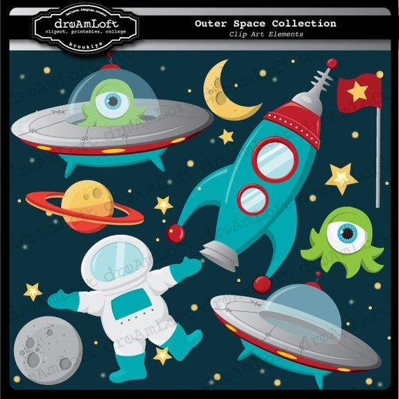 Outer space clip art digital collage sheet clipart for cards for Outer space crafts