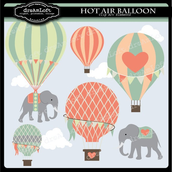 Hot Air Balloons and Elephants Clip Art Digital Collage Sheet Clipart for parties, stationary, invitations, scrapbooking