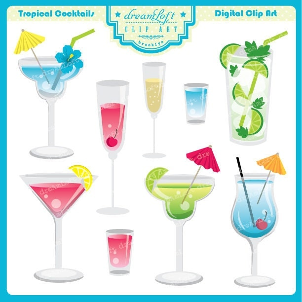 Tropical Drink Clipart Set for summer party themes