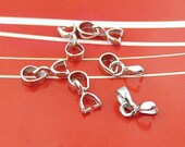 4 pcs Small Sterling Silver Pinch Bail Pendant Clasp 12x2mm
