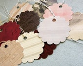 30 Beautiful, high quality, recycled assorted scalloped paper tags