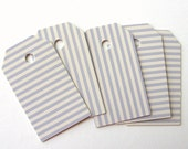 Blue Striped Gift Tags - Shipping Tags - Hang Tags - Labeles - Die Cut - Jewelry Display Cards