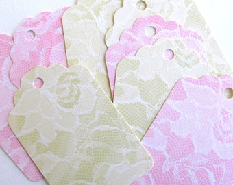 20 Beautiful, high quality, vintage lace, romantic, SHABBY CHIC,  assorted, recycled paper shipping tags
