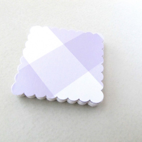 Shipping tags favor tags price tags thank you cards Scalloped square  tags recycled paper lilac plaid
