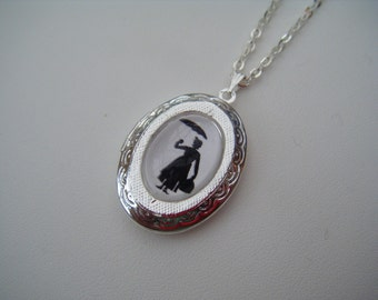 Mary Poppins Silhouette Silver Locket Necklace/Pendant