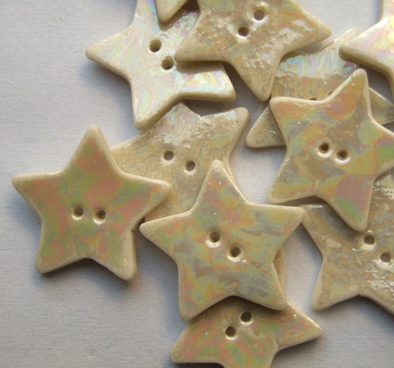 Pearly Porcelain Star Buttons - Supplies for crafts, scrapbooking and embroidery - Price is per button
