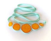 Statement Bubble Necklace orange, yellow and aqua Geometric Ceramic Jewelry