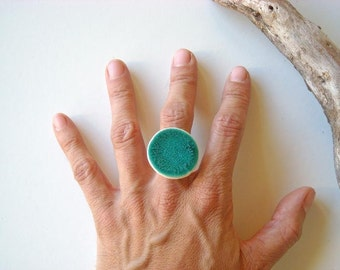 Turquoise Ring Statement ring fashion jewelry ceramic