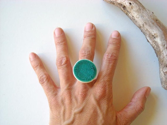 Turquoise Ring, fashion jewelry ceramic