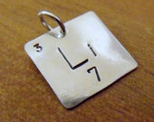 Periodic Table of Elements Charm, Geek Jewelry, Nerdy Gift, Element Square, Custom Stamped Charm CUSTOM ORDER for Theresa