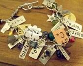 Charm Bracelet , Sterling Silver Bracelet,  Science, Chemistry Jewelry, Elements
