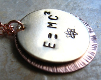 E equals MC squared - Einsteins Famous Physics Equation on a Keychain