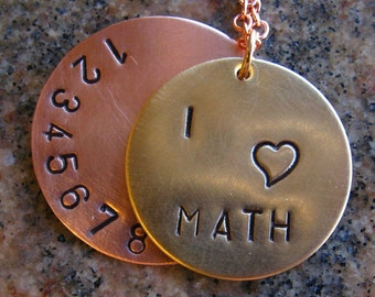I Love Math - Copper and Brass Stamped Necklace