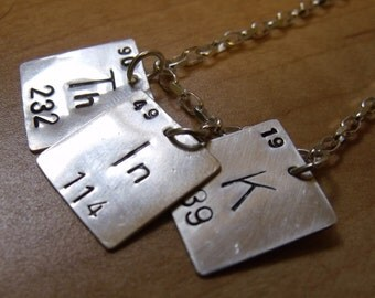 THINK periodic table of elements necklace in Sterling Silver