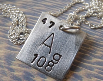 Sterling Silver Periodic Table Square Necklace - Argentum Ag
