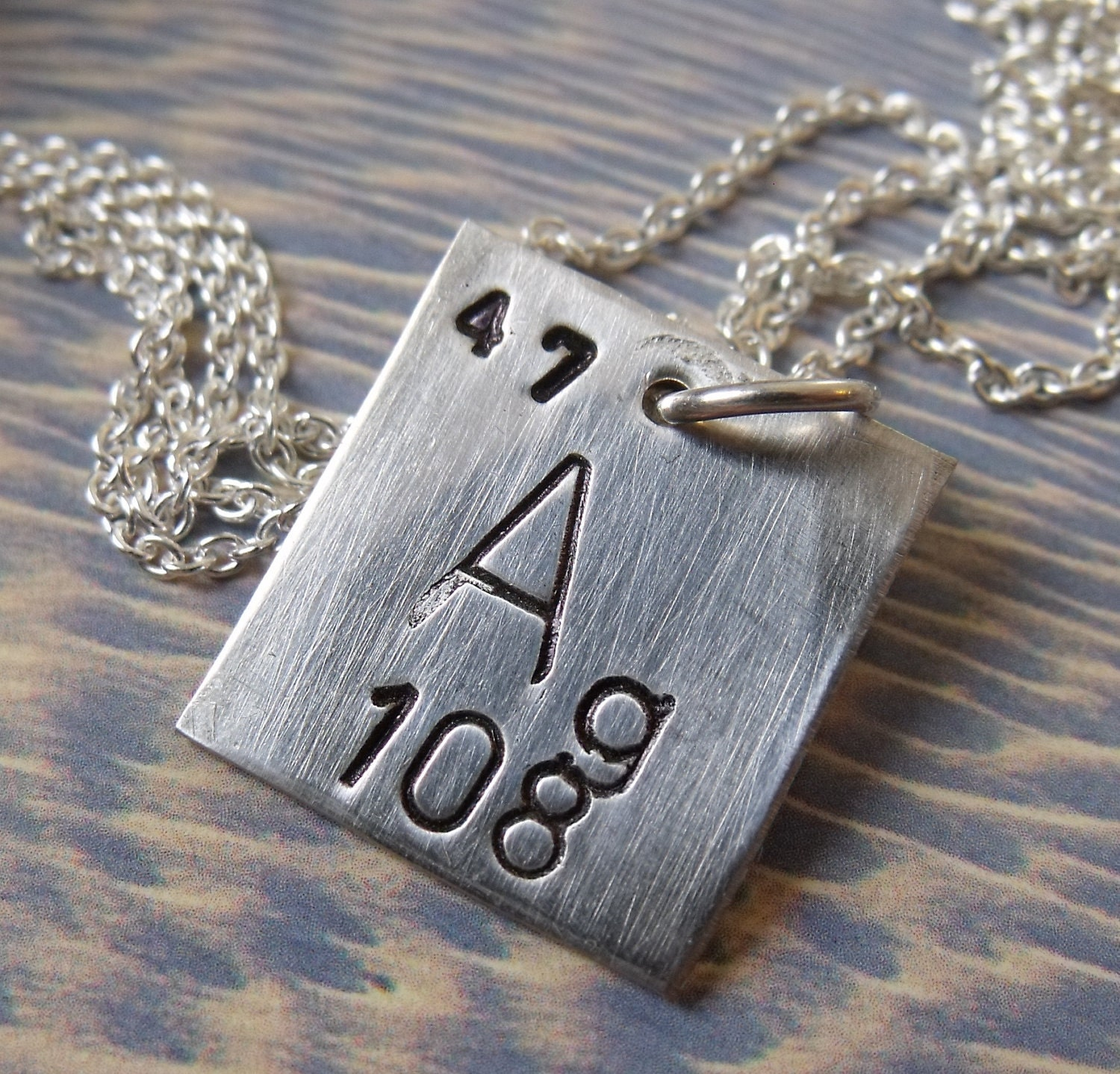 Sterling Silver Periodic Table Square Necklace by nikhajewelry