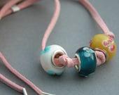 Flower glass necklace summer colours