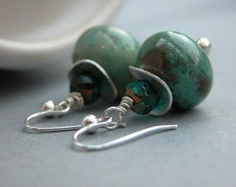 Amazonite and Silver earwires