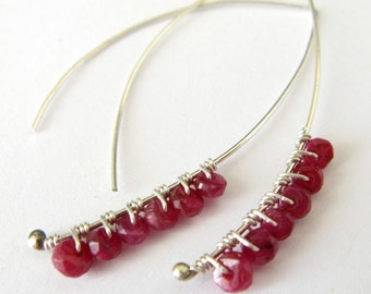 Katherine handmade earrings - red ruby and sterling silver