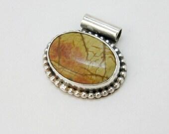 SALE - Saffron - handmade sterling silver necklace with autumn colored jasper
