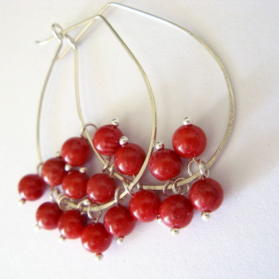 SALE - Jennifer handmade earrings, red coral and sterling silver by lotusstone on etsy