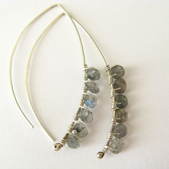 Katherine handmade earrings - labradorite and sterling silver