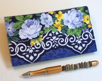Roses Checkbook Cover for Duplicate Checks with Pen Holder, White and Yellow Flowers on Blue Cotton Fabric