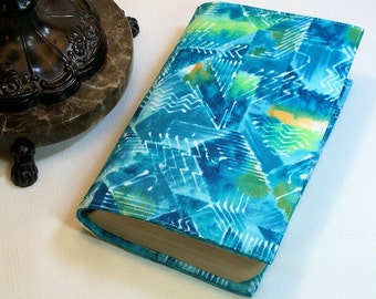 Fabric Paperback Book Cover - Brush Strokes in Aqua and Turquoise Abstract Design, Mass or Tall Mass market, or Trade Size