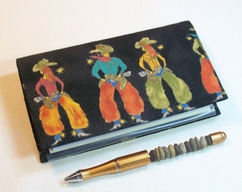 Cowpokes Checkbook Cover for Duplicate Checks with Pen Holder on Cotton Fabric, Black, gold, Olive, Rust, Turquoise