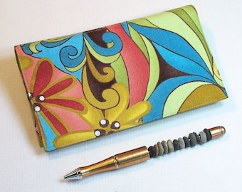Checkbook Cover for Duplicate Checks with Pen Holder - Spirit Cotton Fabric in Gold, Turquoise, Red and Green