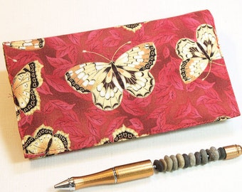 Butterflies Checkbook Cover for Duplicate Checks with Pen Holder, Gold and Red Oriental Cotton Fabric