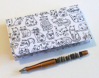 Checkbook Cover for Duplicate Checks with Pen Holder - Black Cats on White, Last One in this Fabric