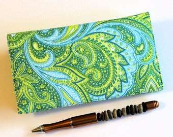 Paisley Checkbook Cover for Duplicate Checks with Pen Holder -  Blue and Green Cotton Fabric