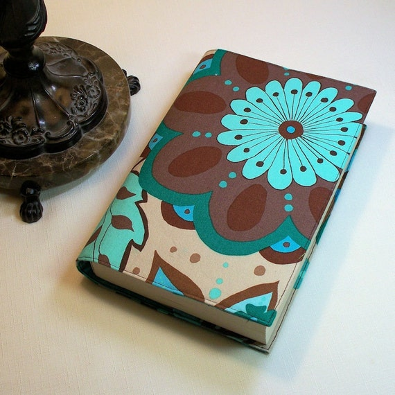Fabric Paperback Book Covers With Handles : Large paperback book cover olive rose cotton fabric by