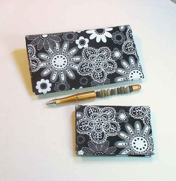 Fabric Checkbook Cover and Card Case White Flowers on Black