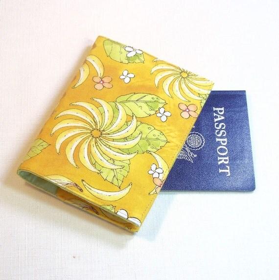 Fabric Passport Cover - Yellow Bananas