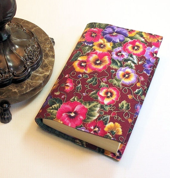SALE - Fabric Paperback Book Cover Mass Market Size - Pansies