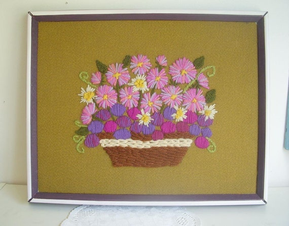 SUMMER SALE -PRICE REDUCED Framed Crewel Embroidered Basket of Flowers