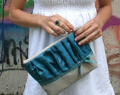 New - Turquoise Pleated Clutch - Ready to Ship