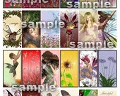 Florals and Fairies Domino Size Collage Sheet 1 x 2 Printable PDF