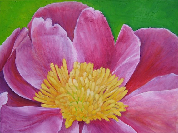 Hot Pink Peony Flower  - Original Oil Painting