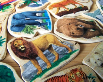 18 Wood Zoo Animals - Plywood with Magnet Backing