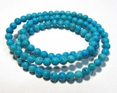 LOOSE Gemstone Beads - Reconstituted Riverstone Beads - 4mm Rounds - Marbleized Turquoise (30 beads) - gem976