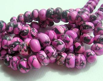 LOOSE Gemstone Beads - Mosaic Magnesite (Turquoise) - 7x11mm Rondelles - Black, Bubble Gum Pink (6 beads) - gem224