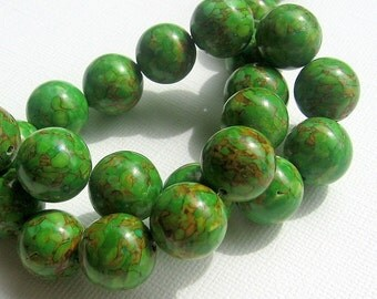 LOOSE Gemstone Beads - Mosaic Magnesite - 13-14mm Rounds - Olive Green, Pumpkin (4 beads) - Gem227