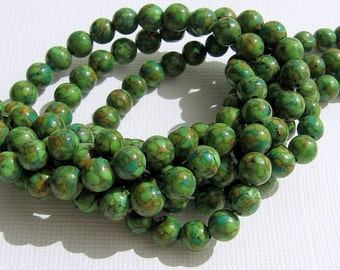 LOOSE Gemstone Beads - Mosaic Magnesite - 6.5-7mm Rounds - Olive Green and Pumpkin (10 beads) - gem234