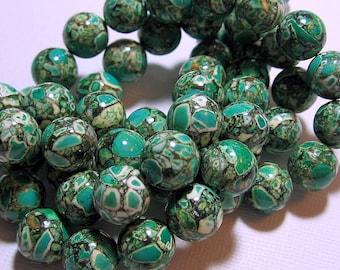 LOOSE Gemstone Beads - Mosaic Magnesite Beads - 12mm Rounds - Shamrock Green (4 beads) - gem396