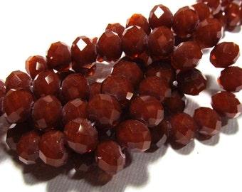LOOSE Glass Crystal Beads - Faceted 8x10mm Rondelles - Velvet Caramel (8 beads) - gla319