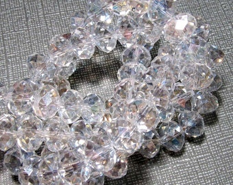 LOOSE Glass Crystal Beads - 8x10mm Rondelles - Clear with Slight AB (8 beads) - gla326