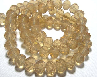 LOOSE Glass Crystal Beads - 8x10mm Rondelles - Translucent Champagne (8 beads) - gla328